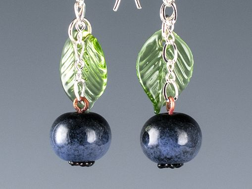 Custom Made Blueberry And Light Green Leaf Earrings On Your Choice Of Ear Wires