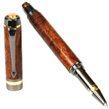 Custom Made Lanier Elite Rollerball Pen - Afzilia Snakeskin - Re7w02