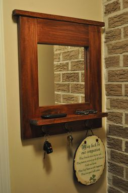 Custom Made Entry Mirror With Key Hooks And Shelf