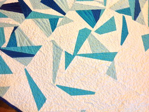 "Custom Made Custom ""Icy Waters"" Paper Pieced Ombre Blue Quilt"