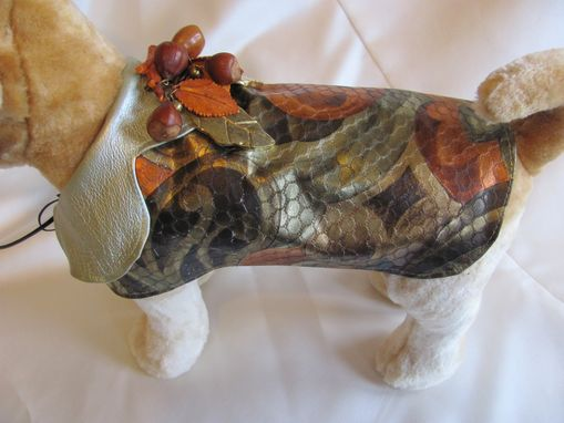 Custom Made Metallic Printed Muticolor Leather Dog Coat With Vintage Brooch.