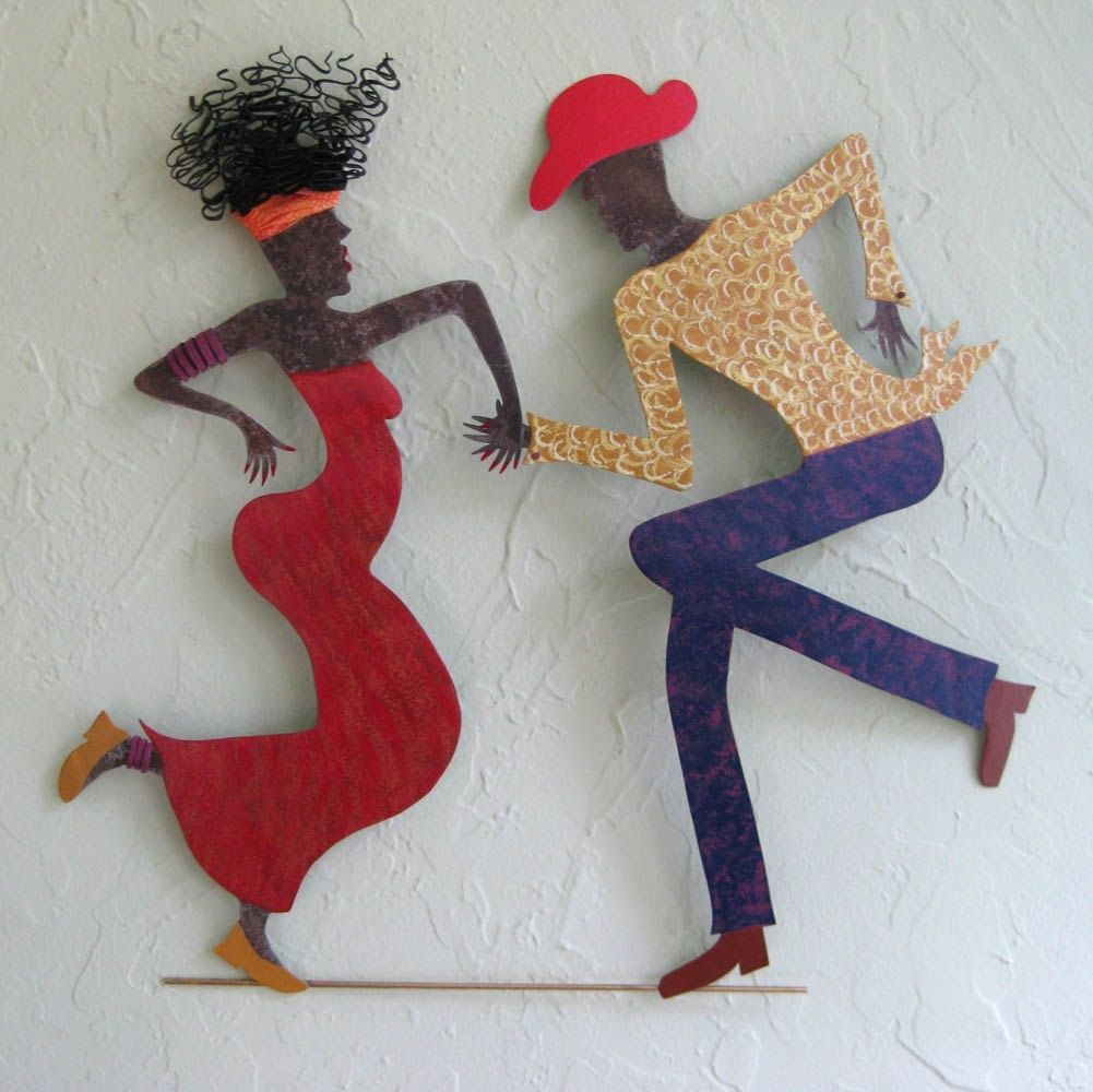 Metal Sculptures And Art Wall Decor: Hand Crafted Handmade Upcycled Metal Cajun Dancing Couple