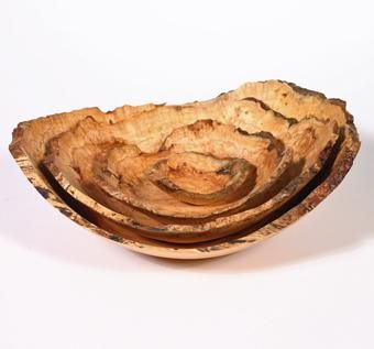Custom Made Nested Set Of Four Natural Edge Cherry Burl Bowls.