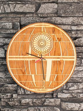 Custom Made Death Star Laser-Cut Wooden Clock