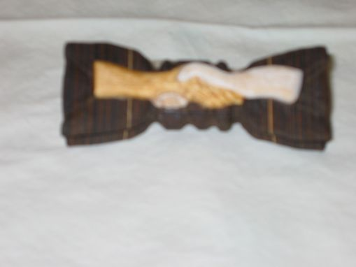 Custom Made Novelty Bow Tie - Friendship In Wood