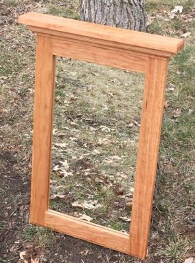 Custom Made Natural Cherry Wood Framed Mirror - Cherry Wood Bedroom Mirror - Hallway Mirror - Bathroom Mirror