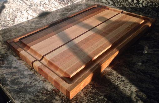Custom Made Edge Grain Cutting Board With Juice Groove & Exotic Woods: Walnut, Exotic Red Palm & Padauak