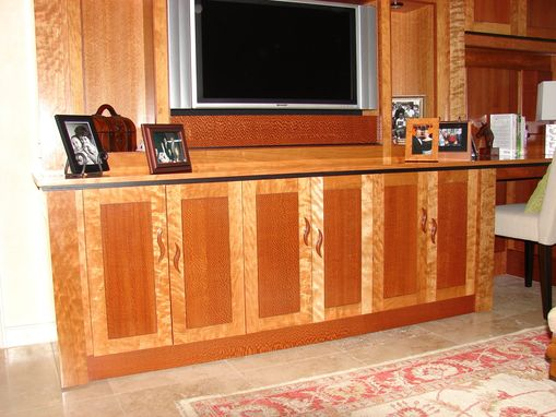 Custom Made Exotic Wood Wall Unit By Michael Pratt Woodworking