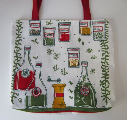 Custom Made Upcycled Tote Bag Made From A Vintage Kitchen Towel