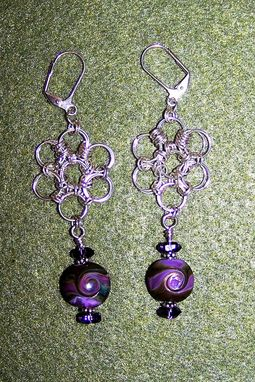 Custom Made Handmade Lentil Lampwork Beads With Sterling Silver Chainmaille Earrings Olive Green And Violet