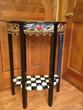Custom Made Hand Painted Half Moon Table//Crescent Table Animal Print//Leopard//Zebra//Griaffe