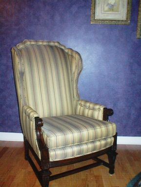 Custom Made Striped Wing Chair