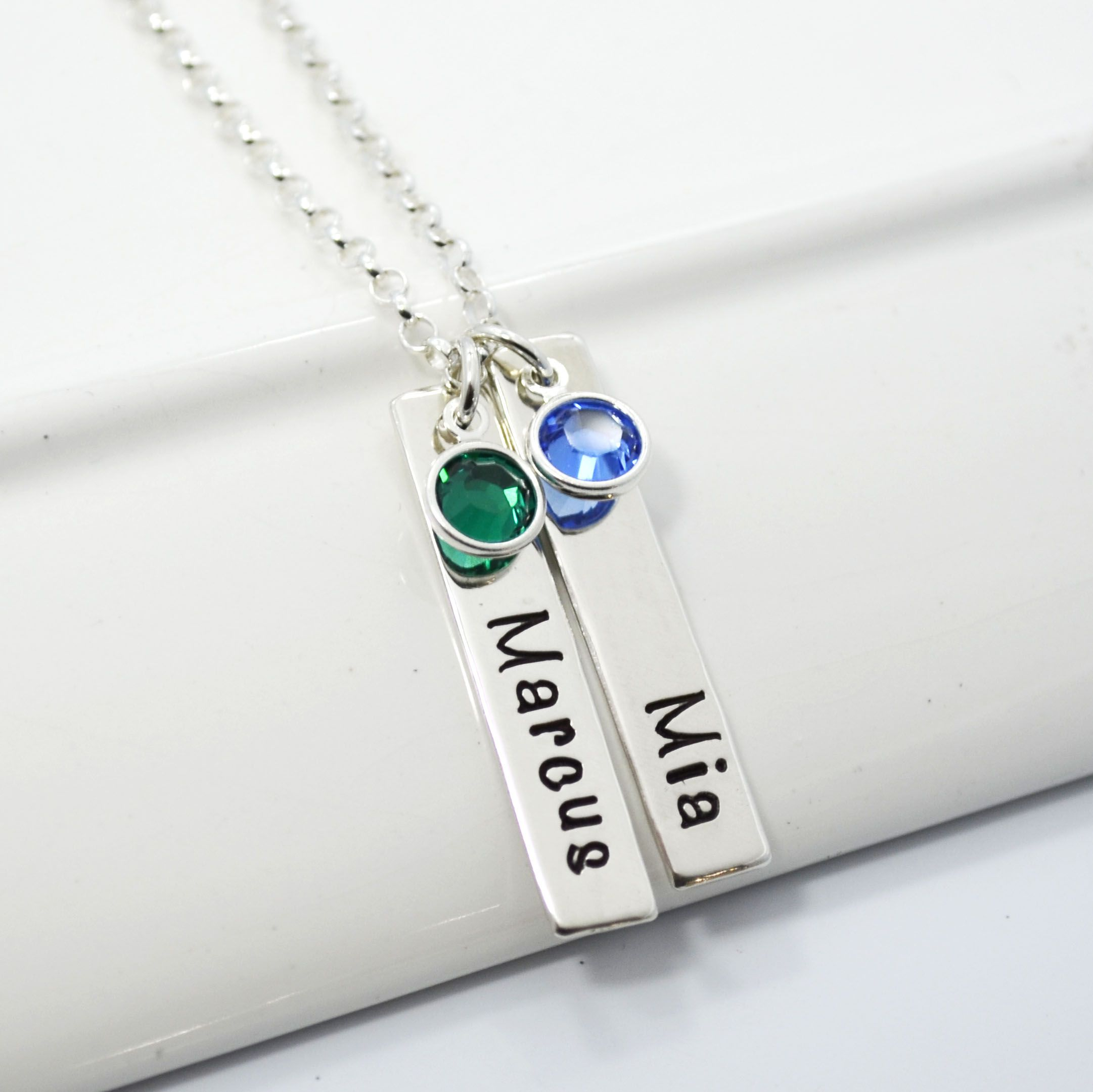 products mia stamped necklace hand silver mama disc lia sterling