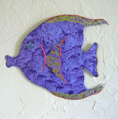 Custom Made Handmade Upcycled Metal Tropical Fish Wall Art Sculpture In Purple