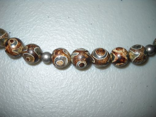 Custom Made Men's Batik Agate And Steel Necklace