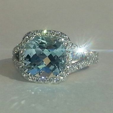 Custom Made Aquamarine Halo Ring