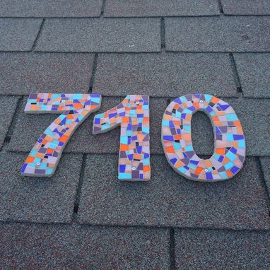 Custom Made Large Custom Mosaic House Numbers, Modern Outdoor Numbers In Stained Glass