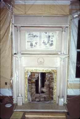 Custom Made Trompe L'Oeil Fireplace Panel Hudson River School Faux Marble Installation