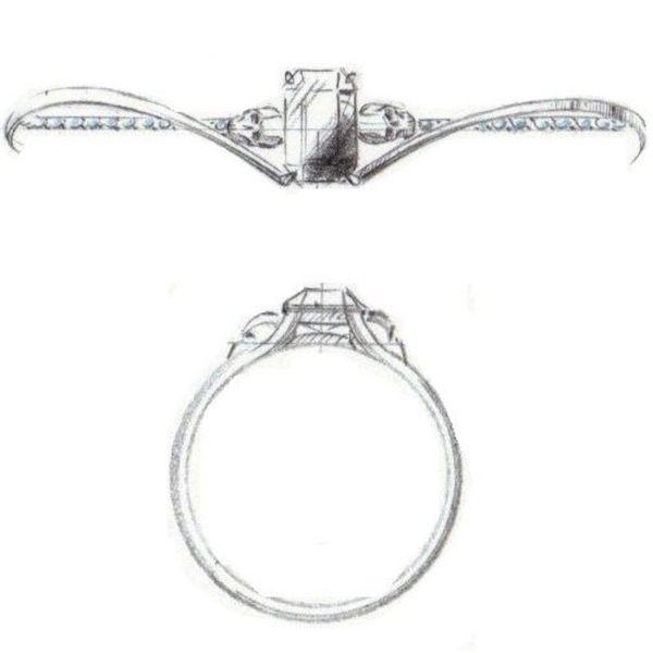 Sketches for an elegant skull engagement ring with sweeping lines around an emerald cut black diamond.