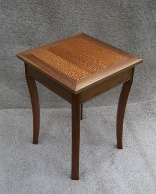 Custom Made Walnut And Lacewood Side Table