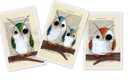 Custom Made Owl Prints- Reproduction Of Vintage Paper Drawing - Giant Owl Poster Print