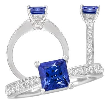Custom Made 18k Lab-Grown 6mm Princess Cut Blue Sapphire Engagement Ring With Natural Diamonds