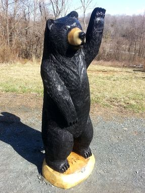 Custom Made Big Black Bear Chainsaw Wood Sculpture, Waving Hello