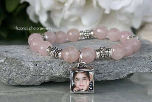 Custom Made Photo Bracelet, Beaded Bracelet, Gemstone Bracelet, Rose Quartz Beads