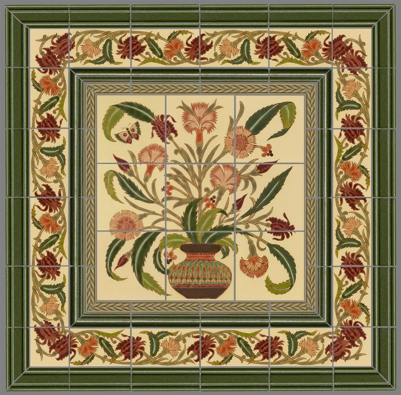 Hand Crafted Custom Ceramic Tile Panel: Persian Floral Pot + Borders ...