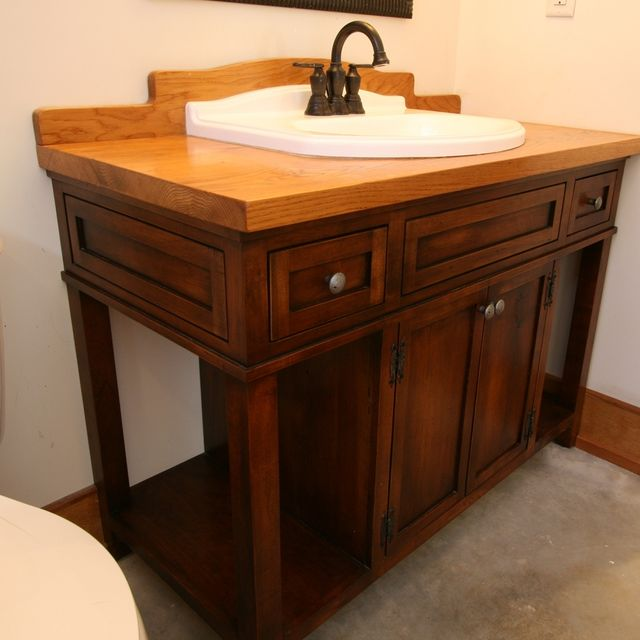Custom Bathroom Vanities Uk hand crafted custom wood bath vanity with reclaimed sinkmoss