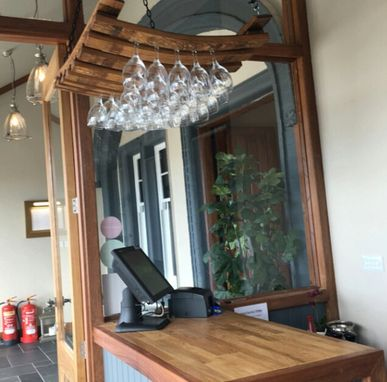 Custom Made Fion - Suspended Oak Barrel Stave Wine Glass Rack