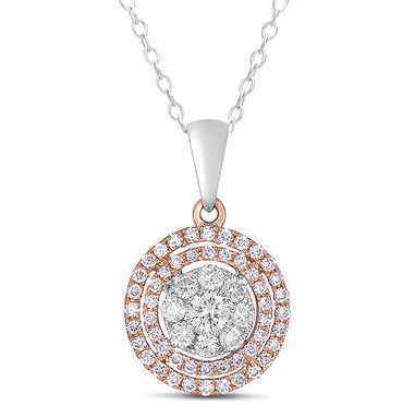 Custom Made White And Rose Gold Diamond Pendant