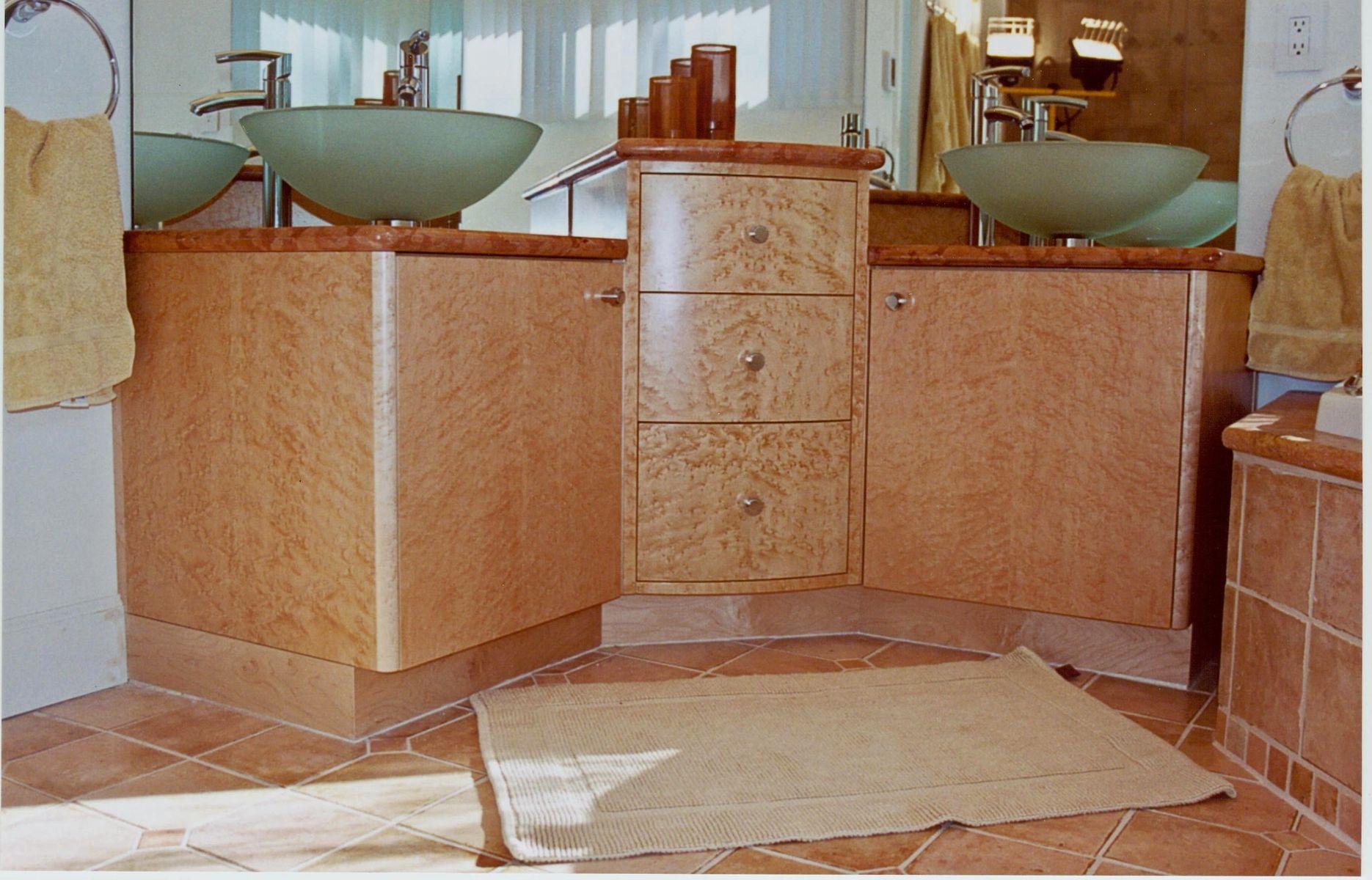 Custom Made Birdseye Maple Bathroom Vanity