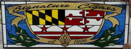 "Custom Made Stained Glass Panel - ""Signature Cigars"" (P-56)"