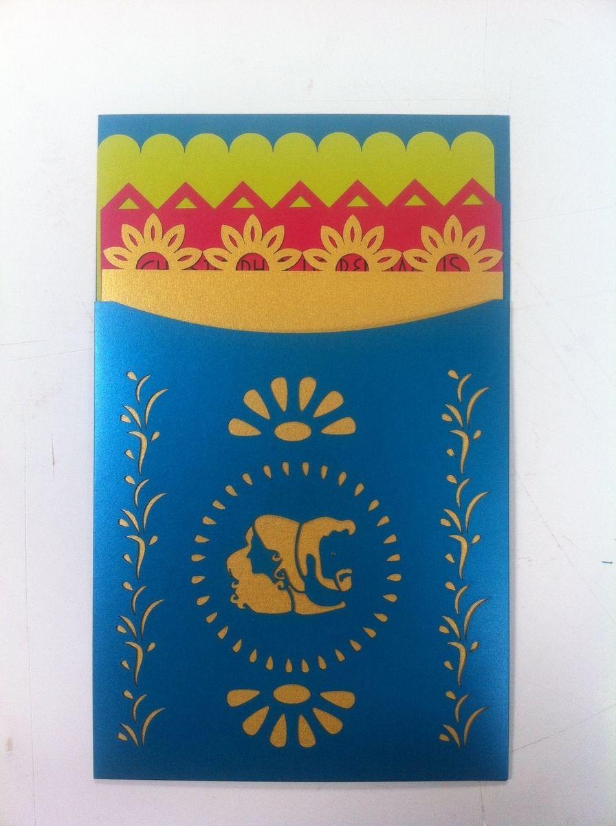 custom art wedding invitations mexican wedding invitations Hand Crafted Papel Picado Mexican Folk Art Style Wedding