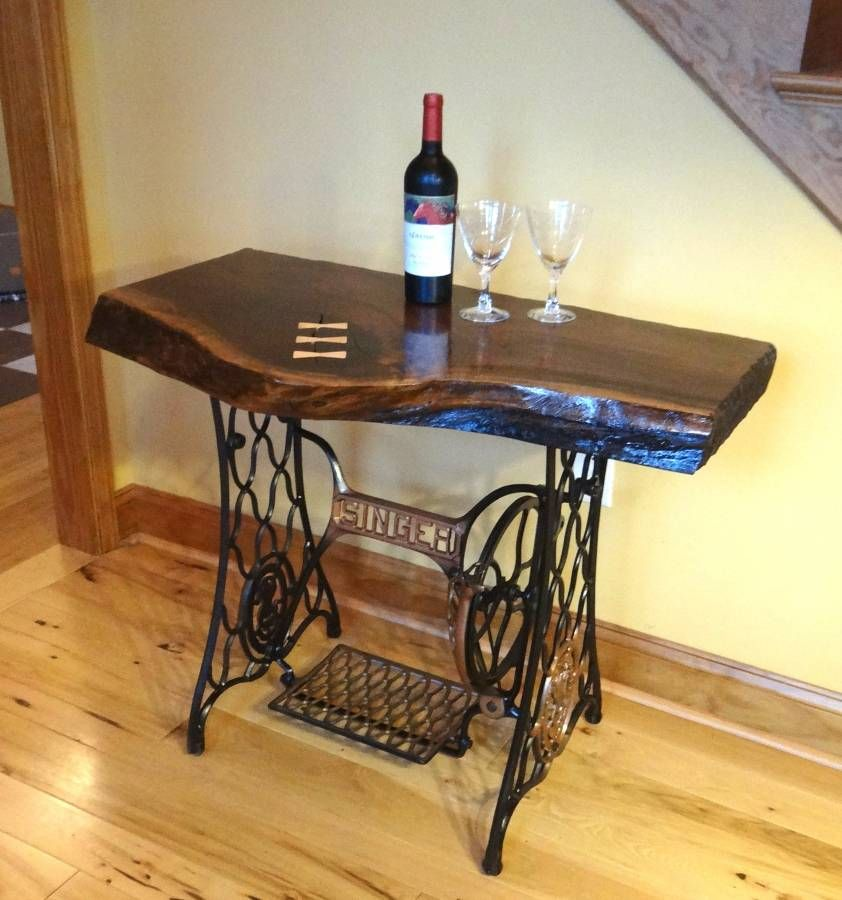 A Custom Beautiful Live Edge Black Walnut Singer Sewing Machine Table Desk Bar Made To Order From Pennsylvania Hardwoods Custommade