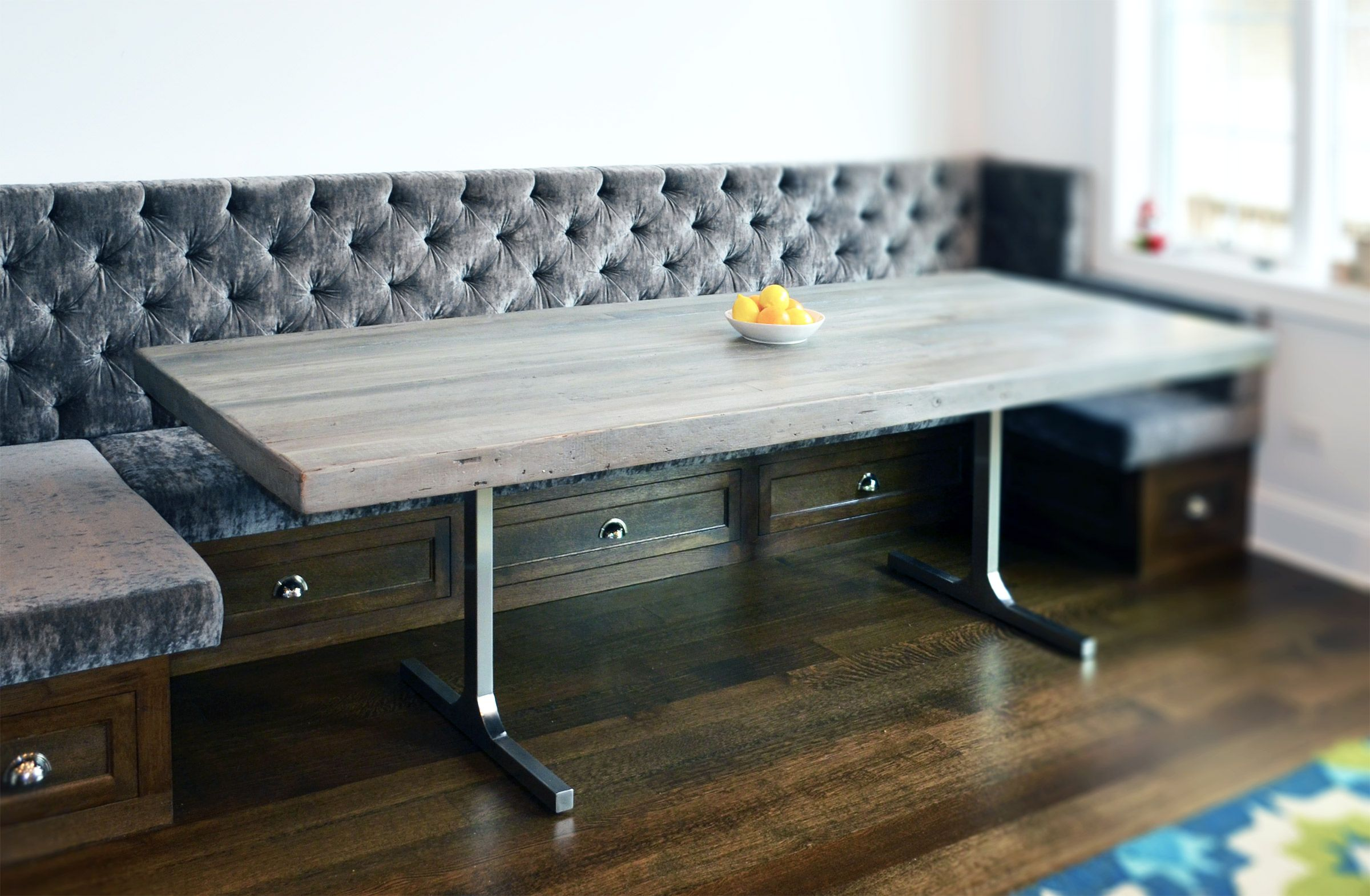 Hand crafted reclaimed wood rustic grey dining table by for Modern kitchen table