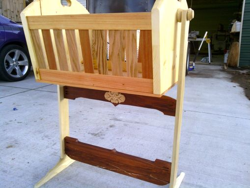 Custom Made Wooden Rocking Cradle In Cherry, Oak, And Pine