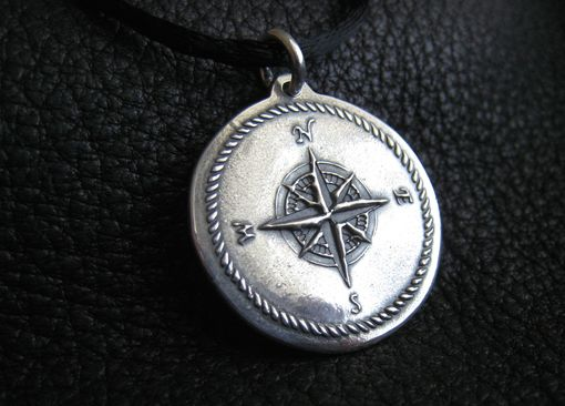 Custom Made Custom Compass Design Pendant Medallion In Sterling Silver