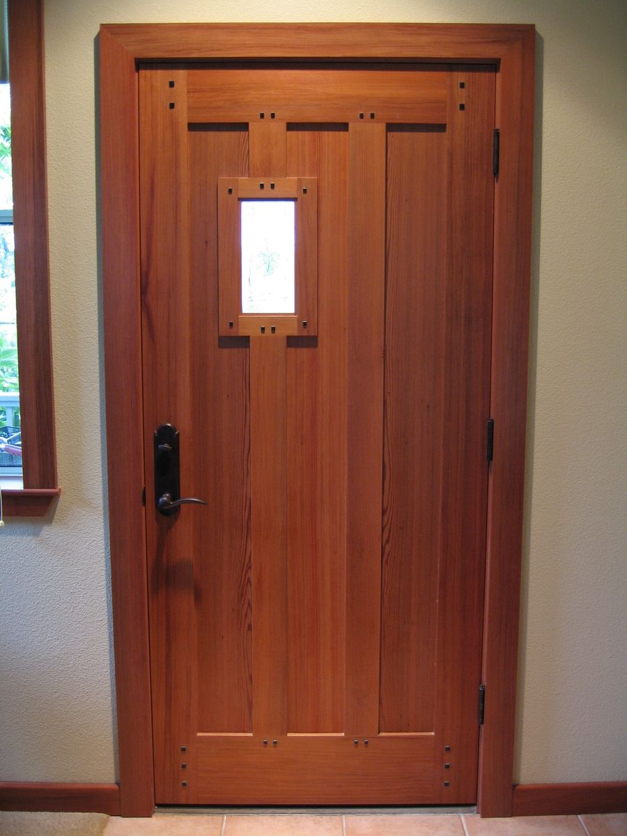 Hand Crafted Custom Redwood Mortise & Tenon With Wenge Pegs Craftsmanesque Entry Door by Ps ...