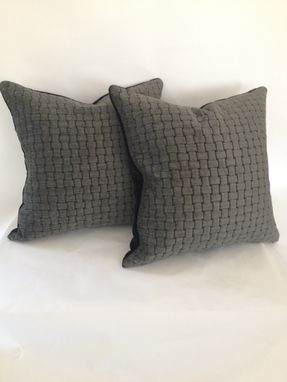 Custom Made Charcoal And Black Woven Look Pillow Cover
