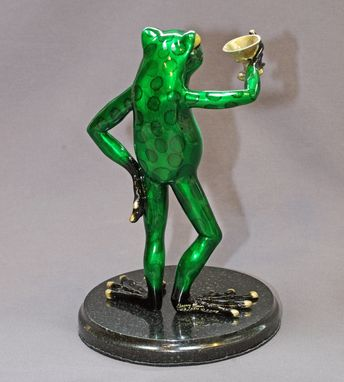 Custom Made Awesome Bronze Martini Frog Figurine Statue Sculpture Art / Limited Edition / Signed & Numbered