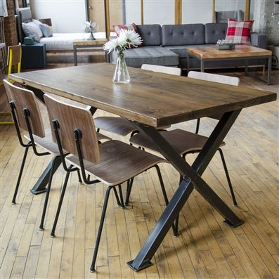 Buy a handmade industrial modern x frame reclaimed wood dining table made to order from urban - Industrial kitchen tables ...