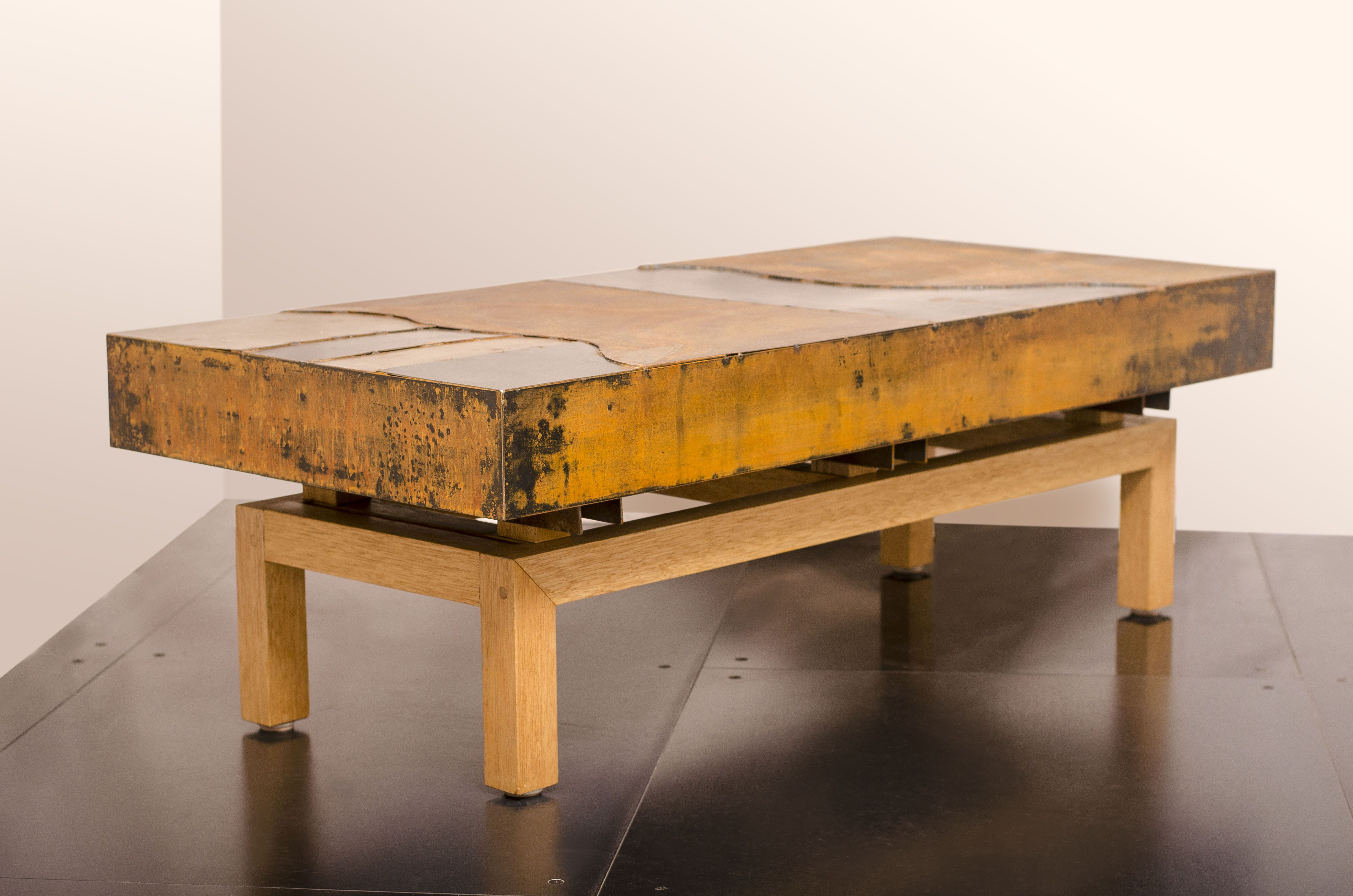 Hand crafted industrial steel coffee table metal mix graft wood base by visual metals llc Industrial metal coffee table