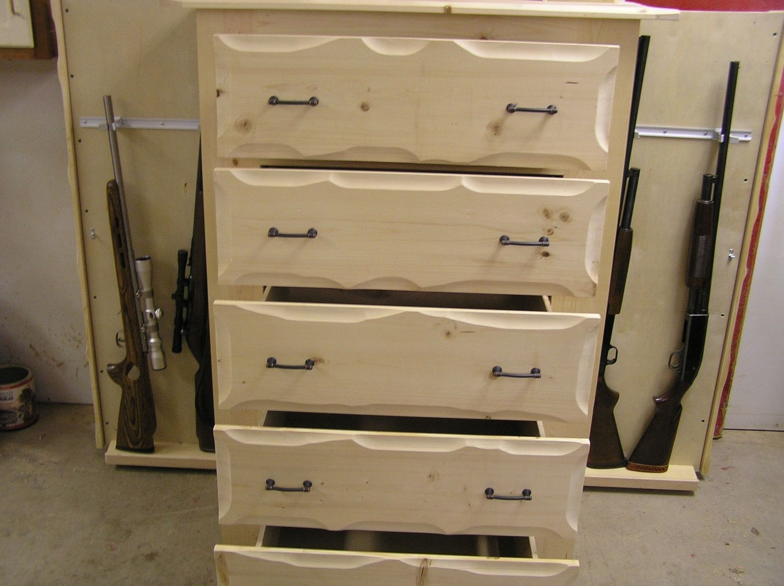 Handmade Rustic Pine Dresser With Gun Storage By New