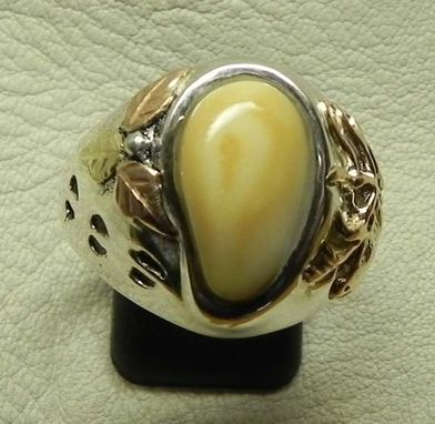 Custom Made Elk Ivory & Inset Elk Bust Ring