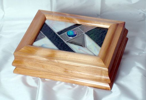 Custom Made Sculpted Alder & Stained Glass Keepsake/Jewelry Box