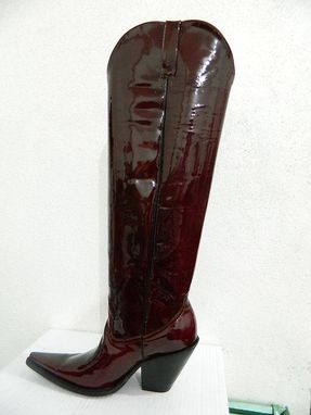 Custom Made Made To Order Genuine Patent Leather Cowboy Boot 32 Inche Tall Sharp Toe For Men