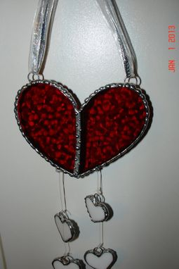 Custom Made Stained Glass Heart Suncatcher In Cherry Red Bubble Textured Glass With 4 Dangling White Hearts