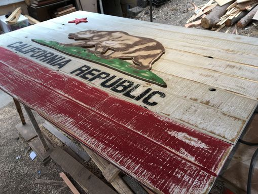 Custom Made Rustic Reclaimed Wood California Flag